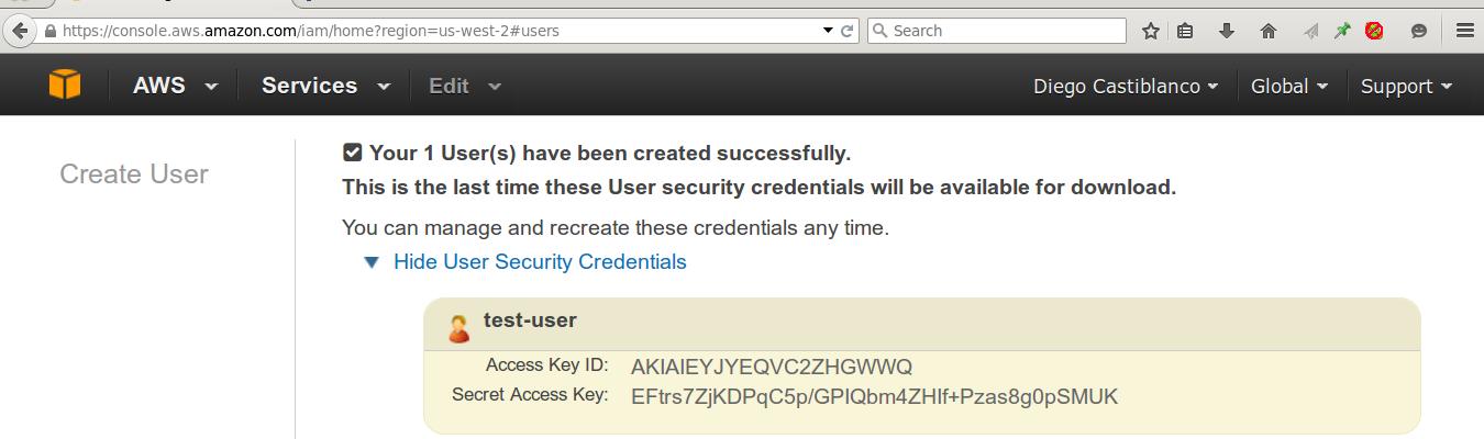 Credenciales de Seguridad Amazon S3