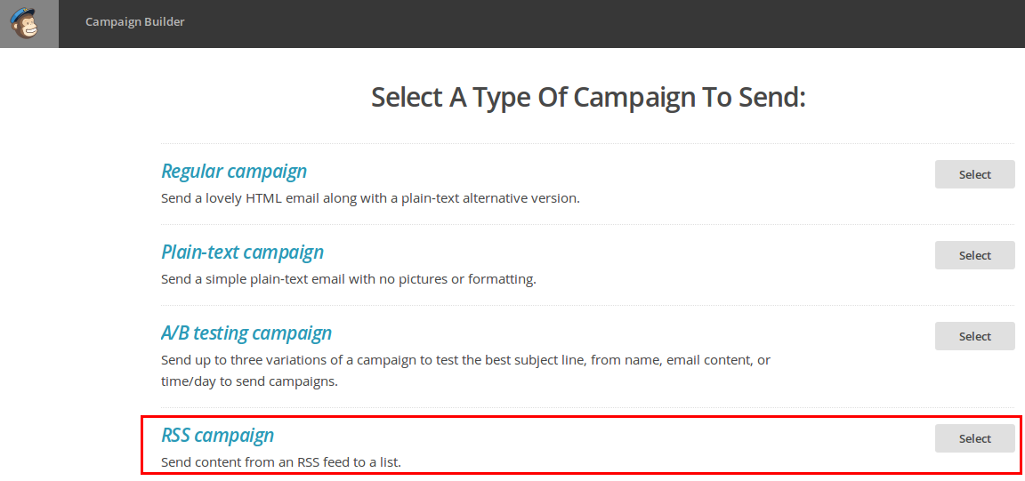 Crear campaña RSS Mailchimp