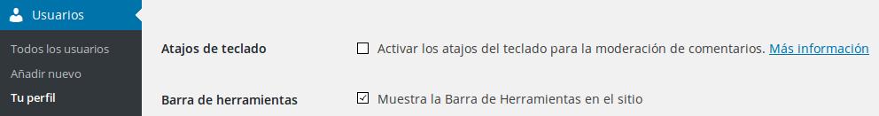 Ocultar Barra de Herramientas WordPress